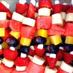 Savannah loves to make fruit kabobs as a snack to share with her soccer team - sweet, juicy, and healthy ... Well, mostly healthy. Savannah wanted to add marshmallows but at least they are tiny!!!