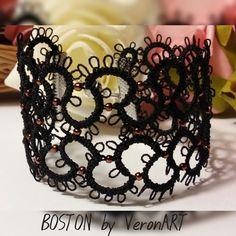 BOSTON fekete hajócsipke karkötő réz színű gyöngyökkel, horgolt, Ékszer, óra, Esküvő, Karkötő, Esküvői ékszer, Meska My Works, Tatting, Boston, My Love, Black, Jewelry, Fashion, Jewlery, Moda
