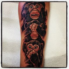 Monkey tattoo, hear no evil, see no evil, say no evil by Dustin Bogue from Project Tattoo Studio is Mountlake Terrace, WA. Just north from Seattle, WA. www.projecttattoostudio.com