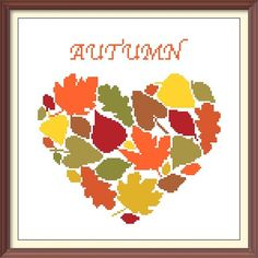 Heart Autumn Leaves Modern Cross Stitch Pattern PDF Chart