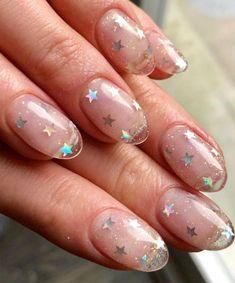 Cute Acrylic Nails, Acrylic Nail Designs, Cute Nails, Nail Art Designs, Clear Nail Designs, Different Nail Designs, Star Nail Art, Star Nails, Cool Nail Art