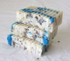 Plumeria Hot Process Soap with Lavender Buds by NaturesPurityBath, $5.10