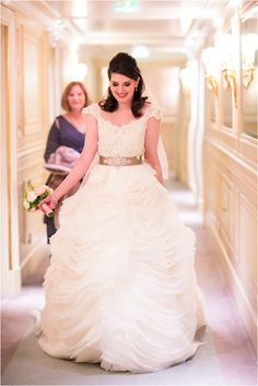 Lazaro wedding dress | Image by One and Only Paris Photography, see more http://www.frenchweddingstyle.com/rainy-wedding-day-in-paris/
