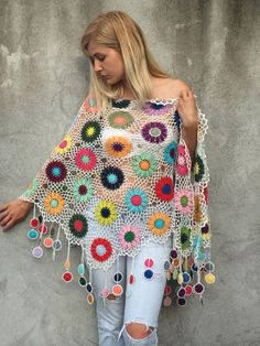 Women Accessories Colorful Crochet shawl white by kovale on Etsy