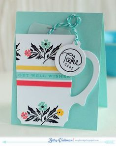 Take Care Tea Card by Betsy Veldman for Papertrey Ink (November 2014)