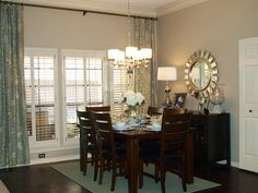 Reynolds Dining Room on awelldressedhome.com - love the colours and drapes