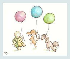 Kinder-Kunstdruck. Ballon-Parade. DRUCKEN SIE 8 X von LoxlyHollow