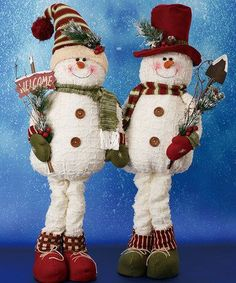 Plush Snowman Figurine Set country style knitted hat on one and the other has red top hat. Christmas Projects, Holiday Crafts, Holiday Fun, Holiday Decor, Christmas Ideas, All Things Christmas, Christmas Holidays, Christmas Ornaments, Xmas Decorations