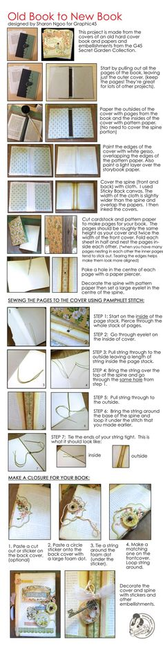 Graphic45 Sharon Ngoo Secret Garden Journal Tutorial. Turn an old book into a new book! #graphic45 #DIY #Tutorials