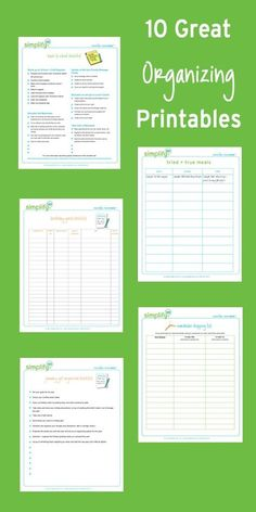 10 great organizing printables copy. Includes a killer menu planner, fun Finish It Friday and Back-to-School checklist.  Can't wait to finally have a reason to use all these!