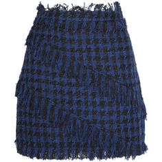 MSGM Fringed houndstooth tweed mini skirt ($215) ❤ liked on Polyvore featuring skirts, mini skirts, bottoms, navy blue skirt, fringe mini skirt, asymmetrical skirt, houndstooth skirt and short mini skirts