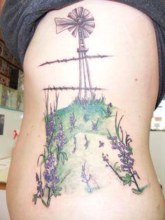 Kansas tattoo 1st session meadowlark windmill and wheat for Tattoo generator on body