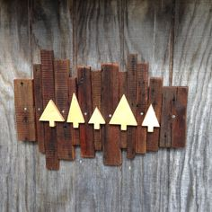 The Woods reclaimed barn board wall hanging. by birdmouseboutique Barn Board Wall, Woods, Curtains, Handmade Gifts, Etsy, Design, Home Decor, Kid Craft Gifts, Blinds