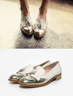Gold tipped tassel oxfords via…