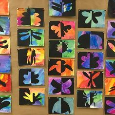 Almost springtime means BUGS! A quick lesson on positive negative shapes for grade Symmetry art Art Positif, Third Grade Art, Grade 2, Grade 3 Art, Symmetry Art, Ecole Art, School Art Projects, Art Club Projects, Spring Art Projects