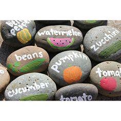 Rock Garden Markers From Lu Bird Baby.  Garden Crafts For Kids