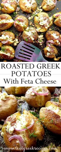 These roasted Greek potatoes are great for any occasion. Smashed with skin on (extra fiber) cooked with olive oil (healthier fat used) and feta cheese (baked is even yummier! Potato Recipes, Veggie Recipes, Vegetarian Recipes, Cooking Recipes, Healthy Recipes, Cooking Ideas, Side Recipes, Greek Recipes, Dinner Recipes