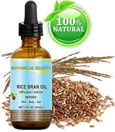 RICE BRAN OIL 100 Pure  Natural  Refined  Undiluted Cold Pressed Carrier Oil for Face Body Hair Massage and Nail Care 1 Fl oz30 ml -- Details can be found by clicking on the image.