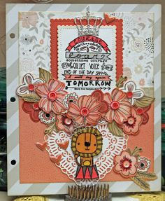 CTMH Charlotte-Planner Page, Savvy Stamps Heart Doily, CTMH Springtime Wishes stamps and die, Reverse Confetti Lion Stamp, Poppy Stamps Crown Die, Atlantic Hearts Sketch Challenge