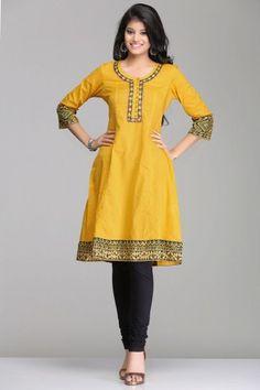 Vibrant Mustard Yellow A-Line Cotton Kurta With Green Ajrakh Pattern By Farida Gupta