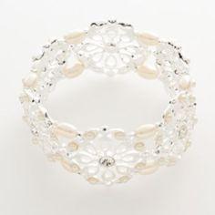 Trifari+Silver-Tone+Simulated+Crystal+&+Simulated+Pearl+Floral+Stretch+Bracelet