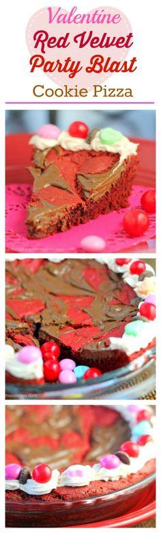 Valentine Red Velvet Party Blast Cookie Pie The Baking ChocolaTess Quick Easy Desserts, Fun Desserts, Delicious Desserts, Dessert Recipes, Cookie Recipes, Cookie Pizza, Cookie Bars, Cupcakes, Cupcake Cakes