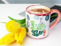 Hand painted coffee mugs made special gifts from kids for Mother's Day
