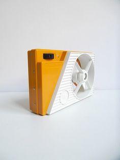 Vintage electric fan, vintage portable battery operated fan, 1960s fan, Italian designed fan via Etsy