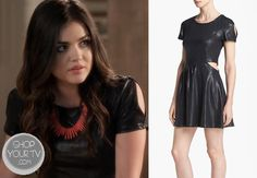 Aria Montgomery (Lucy Hale) wears this glossy cutout dress in this week's episode of Pretty Little Liars. It is the Leith Gloss Cutout Dress. Pretty Little Liars Aria, Pretty Little Liars Outfits, Pretty Little Liars Seasons, Pretty Little Lairs, Fashion Tv, Fashion Outfits, Pll Outfits, Teenager Outfits, Cute Dresses