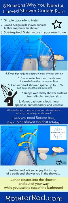 8 Reasons Why You Need a Curved Shower Curtain Rod infographic from Bathroom Bliss by Rotator Rod