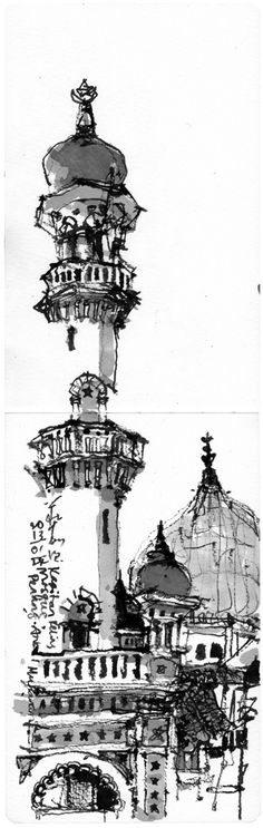 Sketches Diary of Ch'ng Kiah Kiean Urban Architecture, Architecture Drawings, Moleskine, Tinta China, Urban Sketchers, Watercolor Sketch, Art Sketchbook, Ink Art, Islamic Art