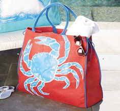 Cape Cod Crab Jute Tote Bag Our largest jute tote has seaide print with webbed cotton handles and side rope ties for adjustable size. Interior pouch pocket with laminated wipe-clean Jute Tote Bags, Beach Tote Bags, Ocean Home Decor, Beach Items, Nautical Fashion, Nautical Style, Dressed To The Nines, Beach Blanket, Handbag Accessories