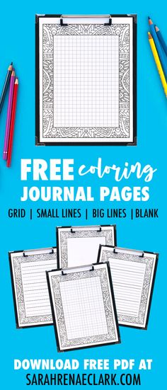 Get these FREE printable journal pages that you can color in! It comes in 4 formats, including a grid (for bullet journal lovers!), small lines, big lines and a blank version. Free Adult Coloring, Printable Adult Coloring Pages, Free Coloring Pages, Coloring Books, Colouring Sheets, Journal Pages Printable, Printable Planner, Free Printables, Printable Calendars