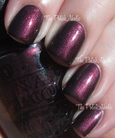 Muir Muir On The Wall is a blackened plum with an intense plum shimmer that has a touch of a golden duochrome to it. This is reminiscent of a couple polishes OPI did in their Germany Collection...  OPI Fall 2013 San Francisco Collection Swatches