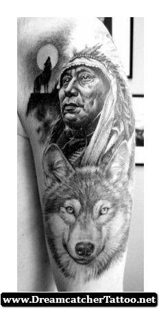 Indian Wolf Dreamcatcher Tattoo 02 - http://dreamcatchertattoo.net/indian-wolf-dreamcatcher-tattoo-02/