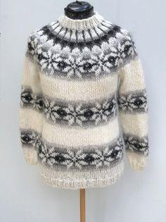 Icelandic sweater - handmade from pure Icelandic Wool - jumper - Pattern from Faroe Islands - Islandpullover - pull islandais - lopapeysa Knitting Machine Patterns, Fair Isle Knitting Patterns, Jumper Patterns, Knitting Blogs, Sweater Knitting Patterns, Knitting Designs, Icelandic Sweaters, Cable Knit Sweaters, Sweater Design