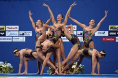 The United States team compete in the Women's Team Free Synchronised Swimming Preliminary on day four of the 16th FINA World Championships at the...