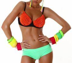 Jela London Push Up BH mit Nieten - Sexy Spikes Bügel-BH Orange (Gr. 65-80 Cup B) GoGo Outfit Top Clubwear (34 - Cup: 65B)