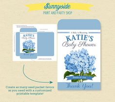 Baby Shower Seed Packet Favor  - DIY - Any color / you choose flower - Printable