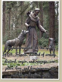 """"""" Statue of St. Francis of Assisi in the Grotto Park, Portland, Oregon. Francis Of Assisi, St Francis, Catholic Saints, Patron Saints, Bronze Sculpture, Sculpture Art, Ste Claire, Pet Loss Grief, Patron Saint Of Animals"""