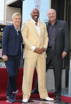 Now that looks like a talkative crowd! Talk show hosts Ellen DeGeneres and Dr. Phil attended a ceremony honoring their colleague Steve Harvey in Hollywood on Monday, when he was given a star on the The Hollywood Walk of Fame. Phil Harvey, Steve Harvey, Hollywood Star, Hollywood Walk Of Fame, Marjorie Harvey, Celebs, Celebrities, Man Humor, Men Looks