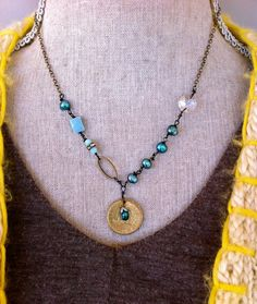 Libby. teal freshwater pearlwire by tiedupmemories on Etsy