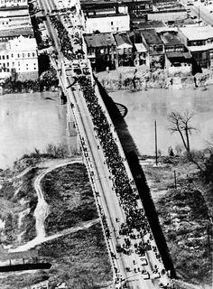 Crossing the Edmund Pettus Bridge, Selma to Montgomery March, 21 March 1965.