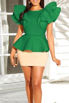 Green-Khaki Patchwork Ruffle Two Piece Elegant Banquet Party Mini Dress Chic Outfits, Trendy Outfits, Fashion Outfits, Denim Maxi Dress, Peplum, Sleeves Designs For Dresses, Latest African Fashion Dresses, Stylish Tops, Fashion Sets