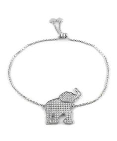 Loving this Sterling Silver Elephant Adjustable Bracelet on #zulily! #zulilyfinds