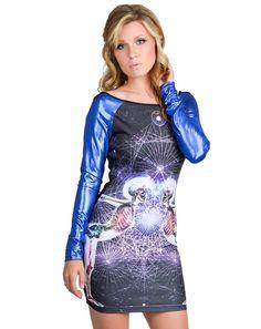 NEW Too Fast Hazard PVC Sleeve Unity Dress Rat Baby Skeleton Punk Bodycon Goth #TooFastRatBaby #StretchBodycon