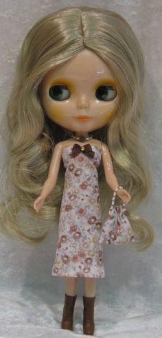 BLYTHE Doll Clothes #40 Handmade Dress, Beaded Necklace & Purse Set #HandmadebyESCHdesigns