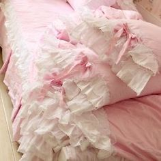 Korean Princess Pink Lace Ruffle Bedding Set Beautiful White Ruffle Bedding Set | eBay