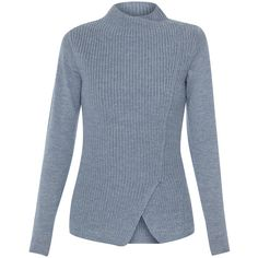 Elie Tahari Hadley Grey Merino Wool Sweater (13.530 RUB) ❤ liked on Polyvore featuring tops, sweaters, grey, gray sweater, grey sweater, asymmetrical top, sweater pullover and long sleeve tops