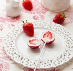Piruletas de fresas - Postres Fáciles - Recetas - Charhadas.com
